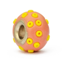 Pink Euro Style Bead Studded with Yellow Seed Beads