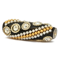 Black Tube Beads Studded with Rhinestones & Metal Chains + Rings