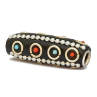Black Tube Beads Studded with Metal Chains & Grains