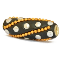 Black Tube Beads Studded with Golden Chains & Accessories