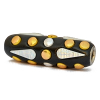 Black Tube Beads Studded with Silver & Golden Accessories