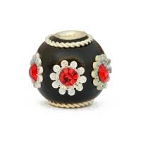 Black Kashmiri Beads Studded with Rhinestones & Flower Accessories