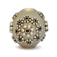 Gray Kashmiri Beads Studded Silver Plated Flowers