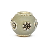 Gray Beads Studded with Silver Plated Flowers & Metal Balls
