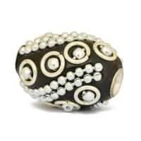 Black Kashmiri Beads Studded with Metal Chains, Rings & Balls