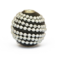16mm Black Round Kashmiri Beads Studded with Metal Chain