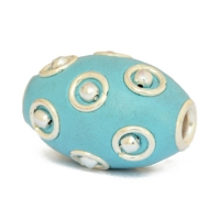 Blue Kashmiri Beads Studded with Metal Rings + Balls