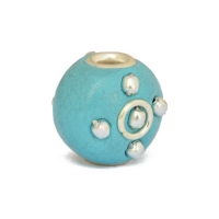 Blue Tablet Shaped Beads Studded with Metal Rings + Balls