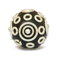 Black Kashmiri Beads Studded with Metal Rings + Balls