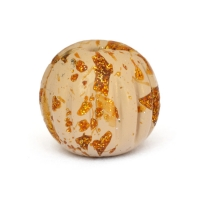 Cream Color Beads with Golden Spots having Engraved Linings