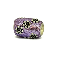 Purple Glitter Beads Studded with Silver Plated Flowers