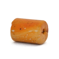 Handmade Cylindrical Orange Lac Beads