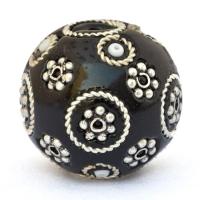 Black Lac Beads with Metal Rings, Metal Flowers & Seed Beads