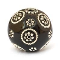 Black Lac Beads with Metal Rings & Metal Flowers