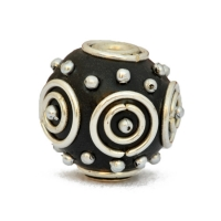 Black Kashmiri Beads Studded with Metal Rings & Metal Balls