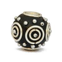 Black Kashmiri Beads Studded with Metal Rings & Metal Balls