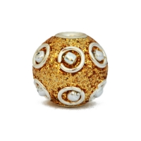 Golden Glitter Beads Studded with Metal Rings + Balls