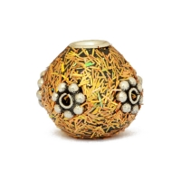 Golden Kashmiri Beads Studded with Silver Plated Flowers