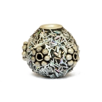 Silver Kashmiri Beads Studded with Silver Plated Flowers