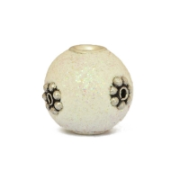 White Glitter Beads Studded with Silver Plated Flowers