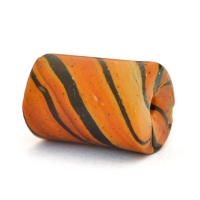 Orange Lac Beads with Spiral Black Stripes