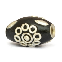 20 x 14 mm Black Cylindrical Beads Studded with Metal Rings & Metal Balls