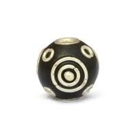 Black Round Kashmiri Beads Studded with Silver Plated Rings