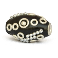 20 x 14 mm Black Cylindrical Kashmiri Beads Studded with Metal Accessories
