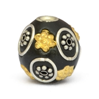 Black Round Beads Studded with Metal Flowers & Metal Rings