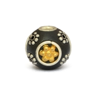 Black Round Beads Studded with Metal Flowers & Rings