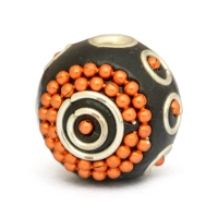 16 mm Black Round Beads Studded with Orange Metal Chains & Rings