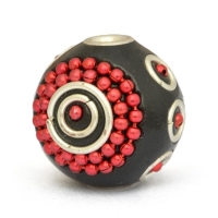 16 mm Black Round Beads Studded with Red Metal Chains & Rings