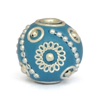 Blue Round Beads Studded with Metal Rings, Balls & Chains