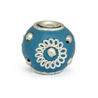 Blue Kashmiri Beads Studded with Metal Rings & Metal Balls