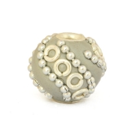 13 mm Gray Round Beads Studded with Metal Rings & Chains