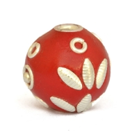 Red Kashmiri Beads Studded with Metal Rings + Balls + Accessories