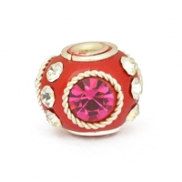 Red Round Kashmiri Beads Studded with Metal Rings & Rhinestones