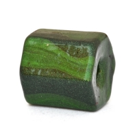 Green Hexagon Lac Beads with Stripes