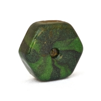 Green Flat Hexagon Lac Beads with Stripes