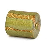 Green Cylindrical Lac Beads with Golden Stripes