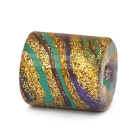 Golden Cylindrical Lac Beads with Multicolor Spots