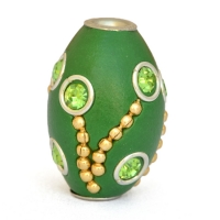 Green Beads Studded with Metal Chains, Rings & Rhinestones