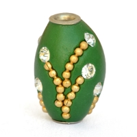Green Beads Studded with Metal Chains & Rhinestones