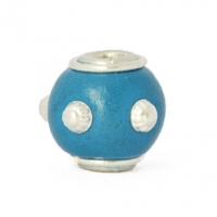 Blue Round Kashmiri Beads Studded with Metal Rings & Accessories