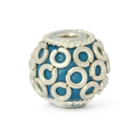 Blue Round Kashmiri Beads Studded with Metal Rings