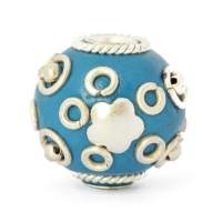 Blue Round Beads Studded with Metal Rings, Balls & Accessories