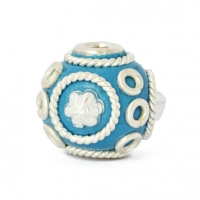 Blue Round Beads Studded with Metal Rings & Metal Flowers