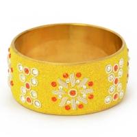 Handmade Yellow Bangle Studded with Red & White Rhinestones