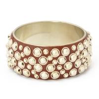 """1.5"""" Handmade Brown Bangle Studded with Metal Balls & Rings"""