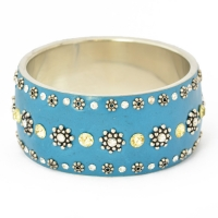 Handmade Blue Bangle Studded with Metal Flowers & Rhinestones